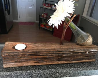 Rustic hand crafted tea candle/ flower vase centerpiece.