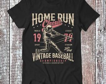 Home Run Vintage Baseball , Baseball Tee , Graphic T-shirt , Sport Shirt