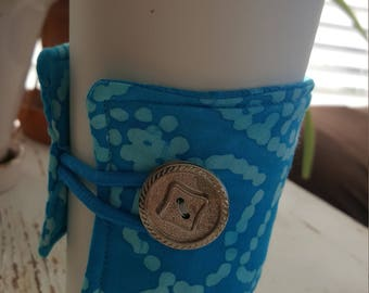 Turquoise and Aqua Marbled Java Jacket/Coffee Sleeve - FREE SHIPPING