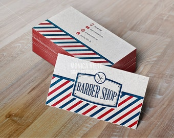 Printable Vintage Barber Shop Business Cards Hair Stylist Card Pole