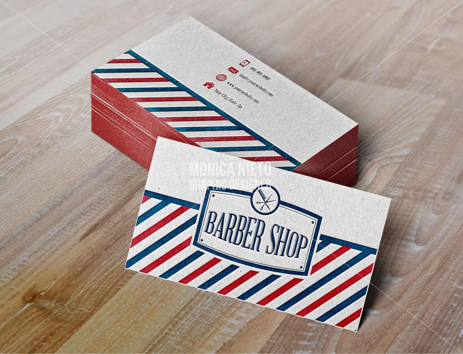 Printable Vintage Barber Shop Business Cards/ Vintage Hair