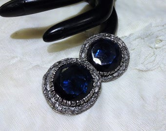 Vintage Ornate Silver Tone Mesh Dark Blue Glass Earrings