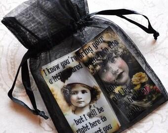 HEALING HOPE MAGNETS Set E set of four vintage collage girls inspirational gift