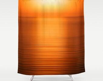 brown and orange shower curtain. Deep Orange Shower Curtain  Sunset Bathroom Decor Gold Citrus Print Watercolor