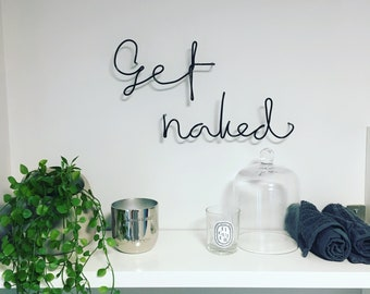 Get Naked wire word wall art - typography - wire word - gold - black