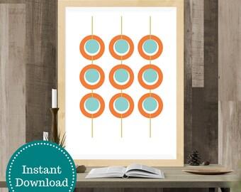 Midcentury Style Printable Art Orange Aqua Green