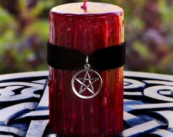 """TRUE BLOOD™ Sacred Witch Blood """"Old European Witchcraft""""™ Gothic Red Pillar Candle w/ Pentacle on Black Velvet, Dragon's Blood, Choose Size"""