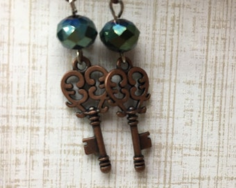 Antique Copper Key Earrings with Dark Teal Swarovski Drop