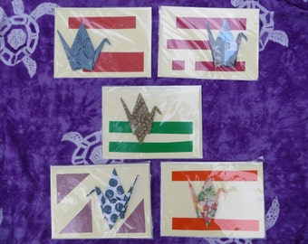 """set of FIVE cream Folded Cards 5.25x7"""", blank, numbered"""