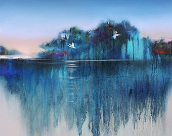 Modern Landscape Canvas Print • BLUE MANGROVE #1 • Abstract Landscape • Contemporary Landscape and Seascape Painting Reproduction • Seascape