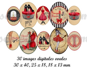Digital collage sheet oval 30x40 mm 18x25 mm 13x18mm oval images for pendant, corset, Paris, Tour Eiffel vintage, instant download