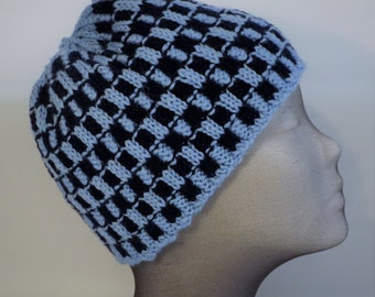 Checkered Ribbed Beanie Pattern