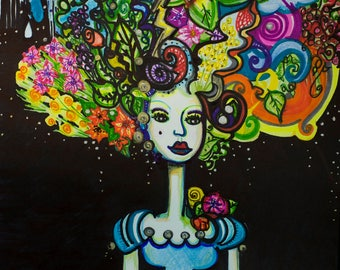 If I were Marie Antoinette I'd have a Garden for hair French inspired art print 9 by 12 inches