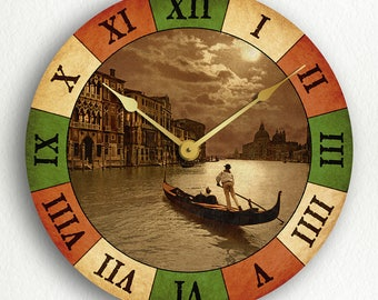 Grand Canal by Moonlight Venice Italy with Italian Flag Colors Silent Wall Clock