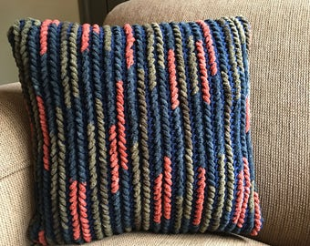 Crochet and Weave Pillow 18 x 18