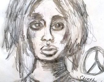 black and white fashion illustration, 8X11 art journal print, original art, graphite pencil drawing, sketchbook art, global women,