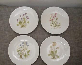 Vintage Set of 4 Wildflower Plates - Made in Bavaria Western Germany