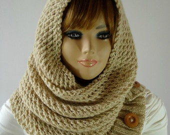 KNITTING PATTERN HOOD Scarf - LouLou Hooded Scarf Cowl - Hooded Infinity Scarf pdf pattern instant download Knit Hood Woman Scarf