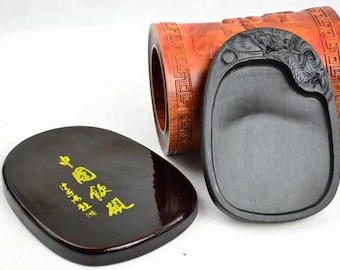 Free Shipping Chinese Calligraphy Material  14.8x10.5x1.5x0.8cm Natural Stone Chinese Inkstone - Carved Dragon -  0003