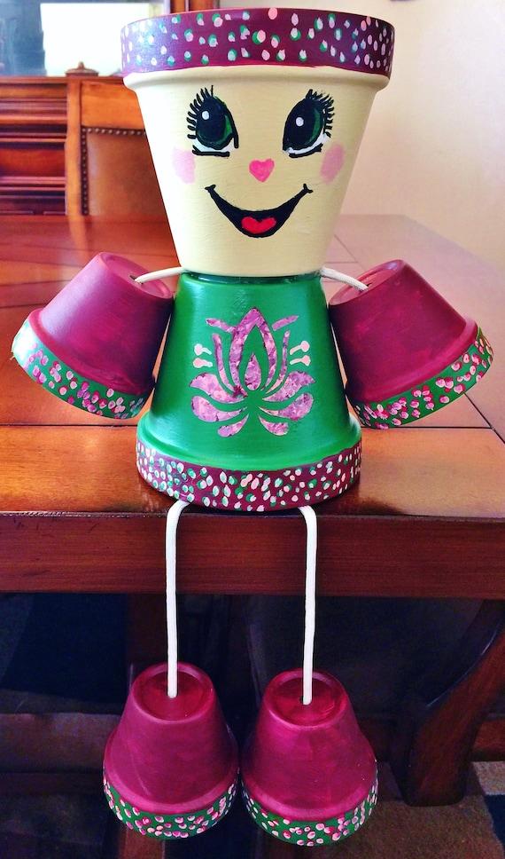 Girl or Boy Wine Maroon Green Pink Candy Flower Dots Clay Pot Head People Terra Cotta