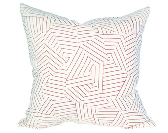 Deconstructed Stripe Red designer pillow covers - Made to Order - Miles Redd fabric for Schumacher