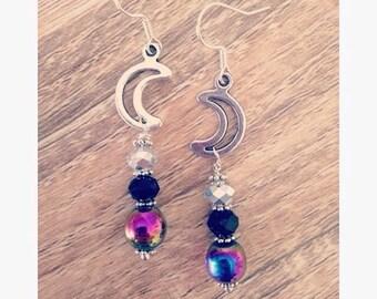 Rainbow hematite crescent moon earrings