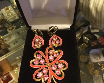 Four leaf clover brooch and clip earring set