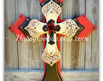 Wall CROSS  - Wood Cross - Large - Antiqued Red, Black, and Beige, with leopard/cheetah print, iron cross, and red iron rose