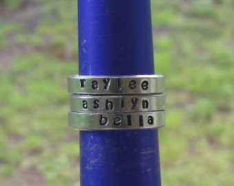 Stackable stamped rings.
