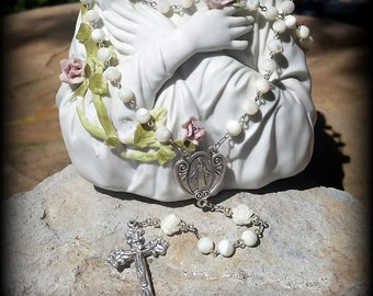 White Mother of Pearl Rosary, Holy Communion, Wedding , Baptism,  Mother's Day