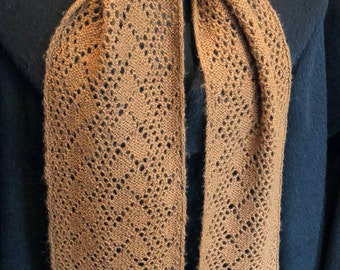 Paco-Vicuna Hand-Knitted Delicate Scarf, Handspun Yarn