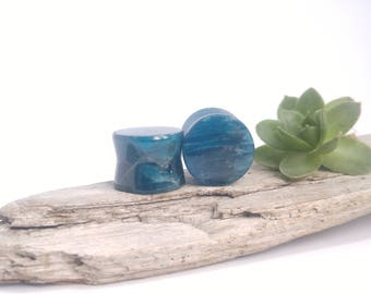 "High quality Blue Apatite 9/16"" plugs, 14mm plugs, Crystal plugs, 9/16"" plugs, Natural plugs, Organic plugs, Handmade plugs, Apatite, Stone"