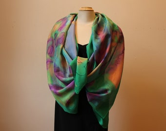"Handpainted silk shawl 22"" x 70"""