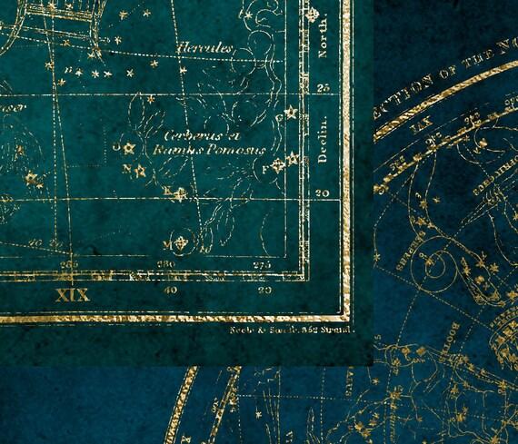Gold Star Maps Digital Paper Printable Scrapbook Paper - Printable star map