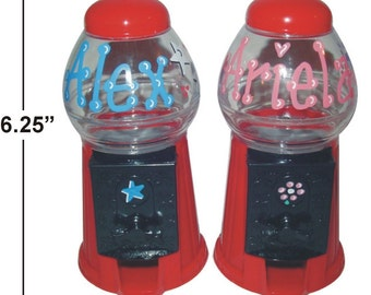"Personalized Gumball Machine / Bank / 6.25"" TALL / Candy Machine / Candy Party Favor / Child Gift / Gumballs / M&Ms / Skittles / Jelly Beans"