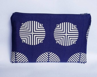 Quilted Zipper Pouch, Navy Blue and Cream