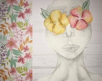 Watercolor Flower Blindfold