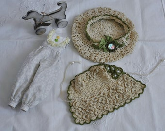 Blythe clothes/ blythe set of knitted clothes / blythe dress, hat and jumpsuit/ knitwear for blythe/ set of beige-green clothes