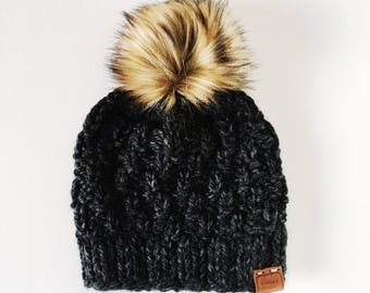 Chunky Hand Knit Fitted Ski Cap with Faux Fur Pom Pom   the SAVANNAH WATCHMAN CAP   Charcoal & Golden Wolf