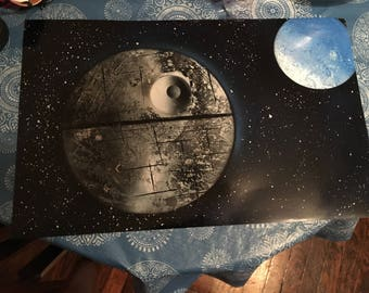 11x14 Star Wars' Death Star spray paint art