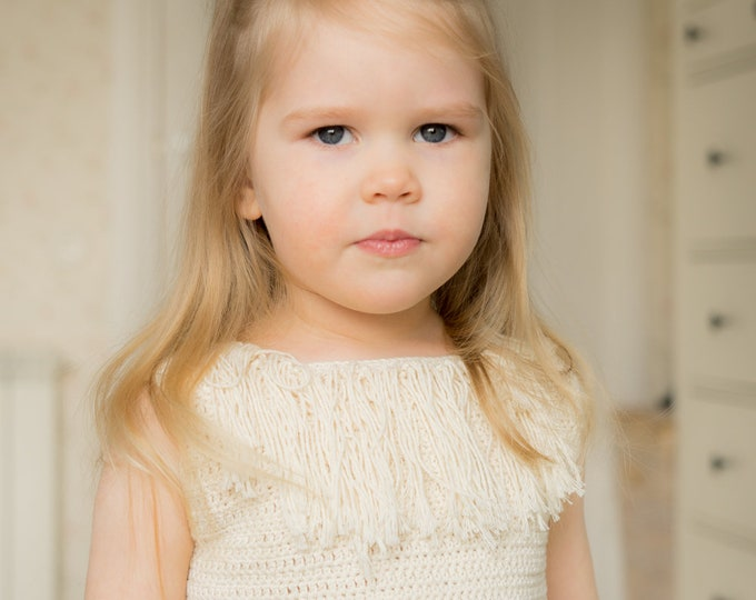 CROCHET PATTERN sleeveless summer top Heili wih a fringe (toddler and kids sizes)