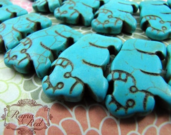 Turquoise Dyed Howlite Water Buffalo Focal Beads, blue beads, howlite beads, animals, dyed gemstone strands, beading -  reynaredsupplies