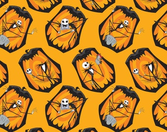 In stock: Disney Fabric- The Nightmare Before Christmas - The Pumpkin King in Orange by Camelot 100% cotton Fabric by the yard -CA210