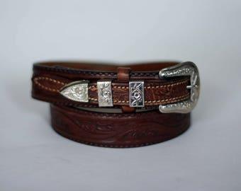 vintage textan tooled leather belt size 32
