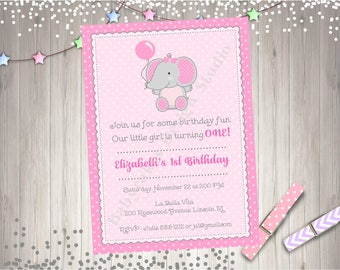 Cute Elephant birthday invitation invite 1st birthday elephant baby shower invitation Elephant 1st birthday party printable Photo Picture