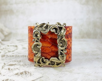Jeweled Orange Wide Leather Cuff featuring Vintage Large & Ornate MUSI Shoe Clip - Baroque Style Statement Bracelet by Boutique Bijou