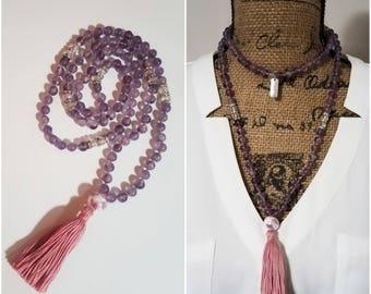Amethyst Mala Tassel Necklace