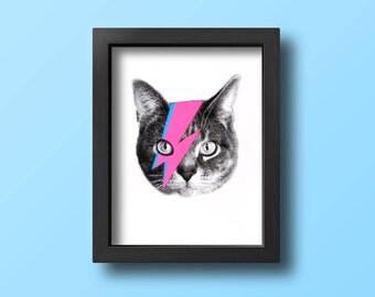 gee whiskers series: bowie cat screenprinted art print