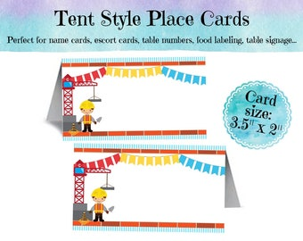 12 Tent Style Place Cards, Name Cards, Food Labeling Cards, Construction Theme, Worker, Crane, Red, Blue, Yellow, Birthday, Baby Shower