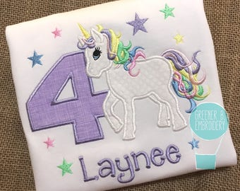 Purple Unicorn Shirt / Birthday Unicorn Shirt / Pastel Unicorn Applique / Girl Unicorn Shirt / Toddler Unicorn Shirt / Personalized Unicorn